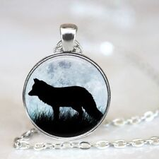Vintage Wolf words Cabochon Tibetan silver Glass Chain Pendant Necklace Jewelry
