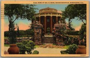 "1943 Birmingham, Alabama Postcard ""Home of Geo. B. Ward, Shades Mountain"" Linen"