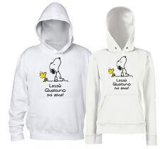 Lassù Qualcuno mi Ama - Snoopy e Woodstock - Felpa Cappuccio Donna Uomo Bianca