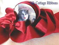 "2 Yards Silk Ribbon 1.25"" RED / SILK COTTAGE RIBBON 1 1/4"" Inch"