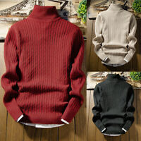 Shirts Knit Pullover Tops High Turtleneck Neck Jumper Men's Sweater Winter Slim