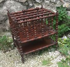 Antique French wood Canterbury Magazine Newspaper Rack Spindles Casters 1870