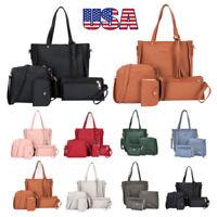 New Women Ladies Handbag 4pcs/Set Leather Shoulder Bag Totes Messenger Bag Purse