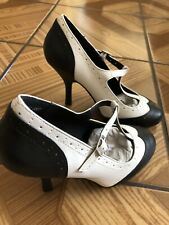 T.U.K. Bombshell Wingtip T-Strap Brogue Black & White Retro High Heel Shoes US 7