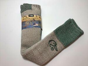 New w/Tags, Ducks Unlimited Mens Merino Wool Blend Wader Socks, Large, Tan/Green