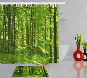 Summer Green Forest Shower Curtain Liner Bathroom Set Mat Polyester Fabric Hooks