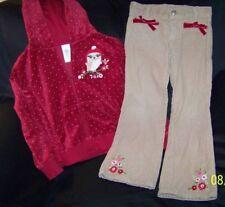 Girls Gymboree COZY OWL ZIP UP FLEECE HOODIE JACKET & CORD PANTS LOT sz 5 6