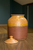 Canister Studio Pottery Signed Jar Pot Vintage Ceramic Amber Red Orange Handmade