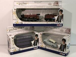 Harry Potter 3 Model Set Hogwarts Express Knight Bus Ford Anglia with Figures