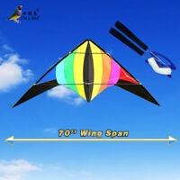 NEW 70-Inch Rainbow stunt Power Kite outdoor Sport fun Toys dual line multicolor