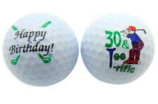 (Happy Birthday 30 & Terrific Logo) New Double Sided White Golf Balls 1 Dozen