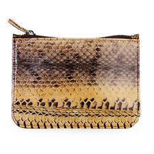 Miu Genuine Sea Snake Skin Leather Thin Slim Wallet Cards Women's Brown Zipper