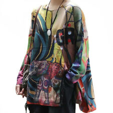 2020 Autumn Korean Fashion Women Casual Printed Sweaters Vintage Loose Pullovers