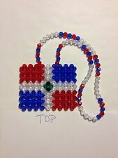 *Handmade* Dominican Republic Flag for your car's rearview mirror, necklace or ?