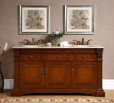 "67"" Bathroom Cabinet Lavatory Vanity Double Sink Travertine Stone Top 181T"