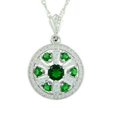 Melina Gift CZ 18K White Gold Gp Green Emerald Pendant Necklace Free Chain