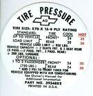 1968 CAMARO Z28 TIRE PRESSURE DECAL-E70 X 15-TIRE SIZE