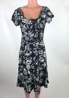 Jams World Womens Size S Black Gray White Floral Short Sleeve Tie Back Dress