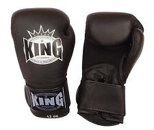 Gants Boxe Thailandaise / Muay Thai KING Air en cuir noir / noir toutes tailles