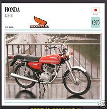 1976 Honda 125cc CG Japan Bike Motorcycle Photo Spec Sheet Info Stat Card