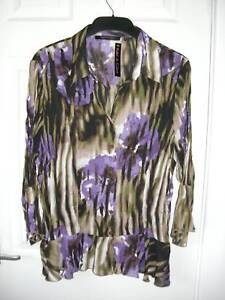 Violet Claire Lilac Green White Crinkle Blouse 18 - 22
