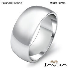 Solid Platinum Plain Dome Men's Wedding Band High Polish Classic Ring 8mm 13.1gm