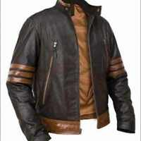 X-Men Wolverine Origins Vintage Style Brown Leather Jacket - BNWT