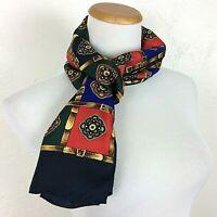 "TALBOTS 100% Silk Scarf Medallion and Belt Print Red Blue Green Gold 58"" x 11.5"""