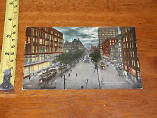 POSTCARD EARLY RARE VINTAGE ESPLANADE FOUNTAIN SQUARE AT NIGHT OHIO CINCI 1914