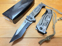 "8.5""  Tactical Open Folding Pocket Knife Blade Stainless Steel Spring Assisted"