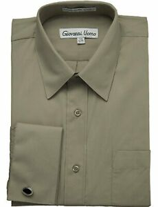 NEW Men's Shirt French Cuff Solid Dress Shirt (Cufflinks included) - Colors