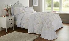 Reversible Cotton Rich Grey Floral Flowers Meadow Duvet Quilt Cover Bedding Set