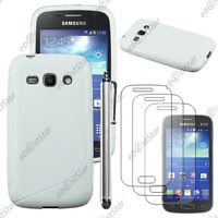 Housse Etui Coque Silicone Blanc Samsung Galaxy Ace 3 S7270 + Stylet + 3 Films