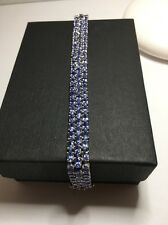REALTanzanite Tennis Bracelet Three Rows almost 8 Inch see pics Sterling Silver