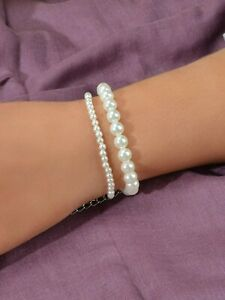 Luxurious Women Retro Double layer Pearl Bracelet High Quality Party Jewellery