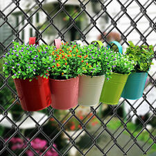 10pcs Colorful Metal Iron Flower Pots Hanging Balcony Garden Plant Planter Home