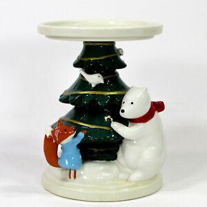 "Bath & Body Works POLAR BEAR & FOX 6"" 3-Wick Candle Holder Christmas Tree"