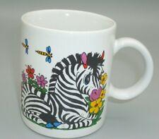Japan Cartoon Zebra Africa Coffee Mug Ceramic Horse Equine Flower