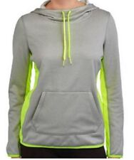 DANSKIN NOW Womens Athletic Tech Fleece Pullover Hoodie L Striped Green Kangaroo