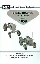 1958  FORD DIESEL TRACTOR OWNER'S MANUAL SUPPLEMENT- SERIES 801-D/901-D