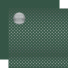 Echo Park: 12x12 Dots & Stripes: Mallard with Silver Dots 2pc Scrapbook Paper