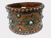 Rowdy Cowgirl Western Distressed Leather TURQUOISE Crystals Cuff Bracelet k2