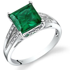 14k White Gold Created Emerald Diamond Ring Princess Cut 2.25 Carats Size 7