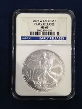 2007-W West Point Burnished American Silver Eagle NGC Early Releases MS-69