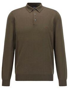 HUGO BOSS Men's Khaki Italian Virgin Wool Polo Neck Jumper M RRP £139 *MINT*