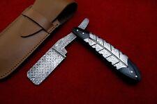 Damascus Steel Custom HandMade STRAIGHT Folding RAZOR  (SBK-360) ONTARIO