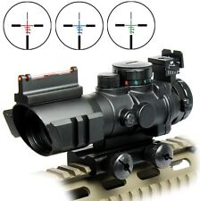 4X32 Prismatic Rifle Scope with Fiber Optic Sight Tri-illuminated BDC Recticle