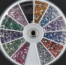 3600pcs 3D Acrylic Gems Glitter Nail Art Rhinestones 1.5mm Decoration Tips Wheel
