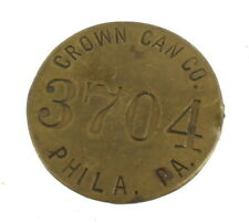Vintage Crown Can Company Advertising Bronze Employee Number Identification Tag