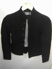 LADIES MILITARY STYLE BLACK DENIM LOOK BUTTON UP JACKET LIGHTWEIGHT SUMMER